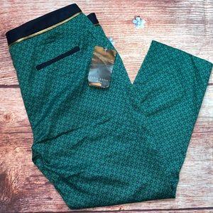 NWT Zara Basic Blue Green Zipper Trousers Size 8